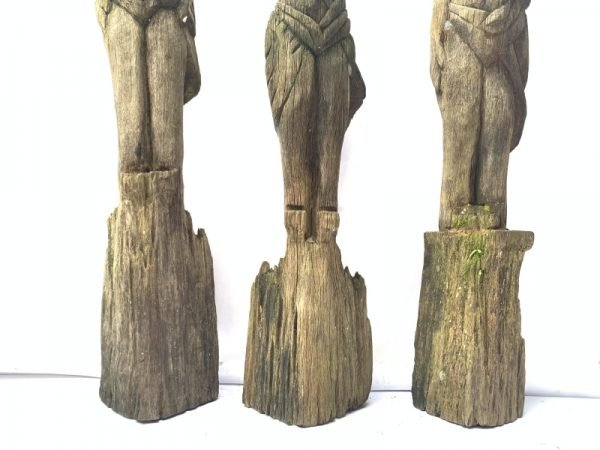 THREE WEATHERED DAYAK GUARDIAN primitive sculpture Antique Artifact Figure Icon