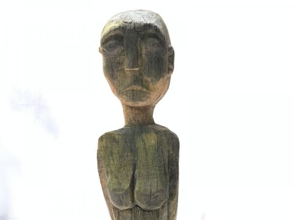 OLD 630mm Dayak KAYAN STATUE Billion Wood Figure Female Sculpture Native Tribal Tribe Borneo