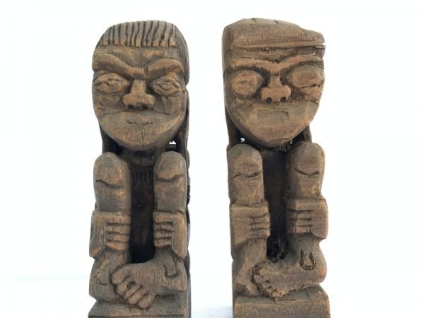 SCULPTURE ART 170mm DAYAK BAHAU Miniature Statue Human People Figure Asia Tribe