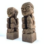 TRIBAL ART 170mm DAYAK BAHAU Statue Human People Figure Sculpture Native Asia