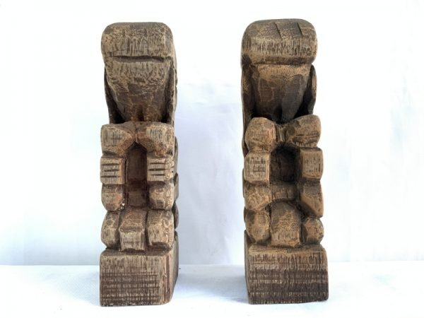 BORNEO HEADHUNTER 170mm DAYAK BAHAU Wood Artist Statue Human People Figure Sculpture Native