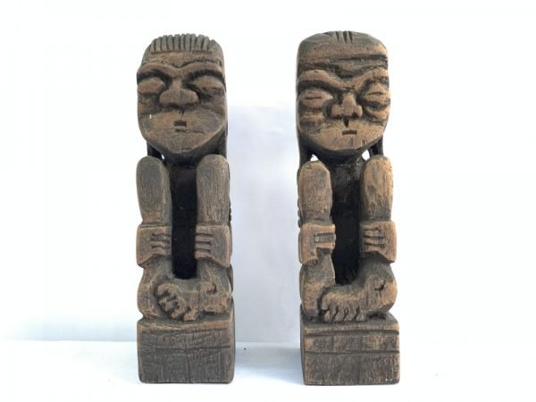 HANDMADE STATUE 170mm DAYAK Bahau Human Abstract Art People Figure Figurine Sculpture Paperweight Tribal Tribe