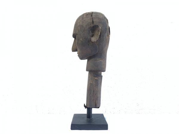 ANTIQUE Timor-Leste 400mm Portuguese HEAD SCULPTURE Tribal Statue Human Figure