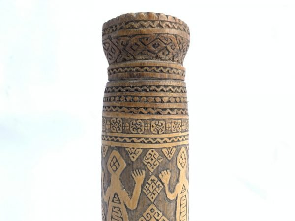BATAK CONTAINER 210mm Hollow BAMBOO Betel Powder Nut Artifact Jewel Box Figure Tropical Tribe Tribal Native Asia