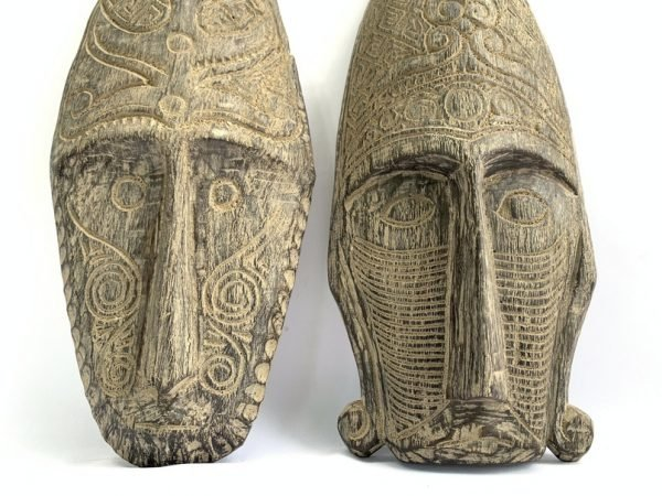 TATTOOED FACE 23″ On Stand TRIBAL MASK Nias Figure Statue Asia Asean Artifact