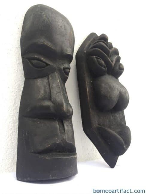 ONE PAIR WEDDING MASK Dayak Topeng Wall Facial Face Statue Sculpture Painting