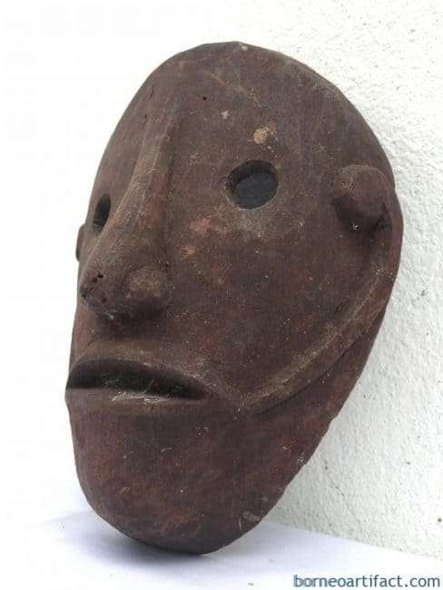 IBAN MASK Headhunter Borneo Facial Masque Tribal Face Topeng Dayak Statue Sculpture