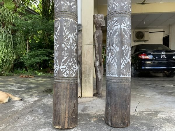 TWO GIANT 9 FEET Sacred Pole Totem Dayak Ritual Native Pillar Carved Trunk Wood Statue Sculpture Art Garden Deco