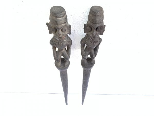 TunTun BAHAU 400mm SACRED TRIBAL POLE Old Shaman Figure Headhunter Dayak Statue Borneo