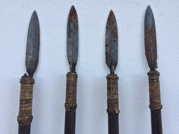 FOUR SUMPIT 80″ / 1980mm NATIVE BLOWPIPE SPEAR Primitive Hunting Weapon Knife