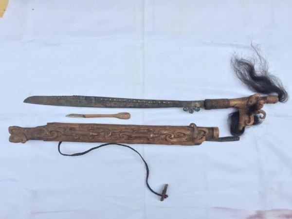 DEER HORN 870mm DOUBLE BLADE PARANG iLANG Weapon Knife Samurai Keris Sword Arms