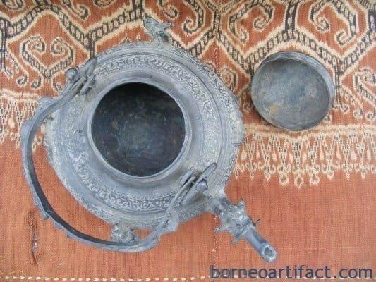 TWO RARE Protuding Naga ~ Antique BRUNEI KETTLE Teapot Metal Casting Artifact