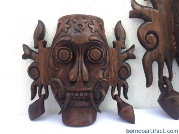 ONEPAIRmm&mmMASKTribalFaceBorneoDayakWallHangingDecoSculptureStatue