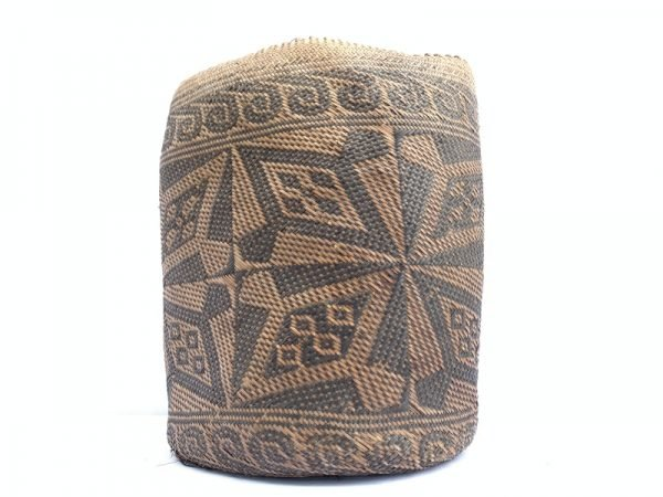 AUTHENTIC OLD BASKET 280mm Traditional Borneo Weaving Woven Fiber Art Rattan Bag #2