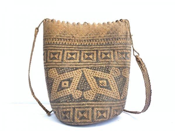 AUTHENTIC OLD BASKET 280mm Traditional Borneo Weaving Woven Fiber Art Rattan Bag #4