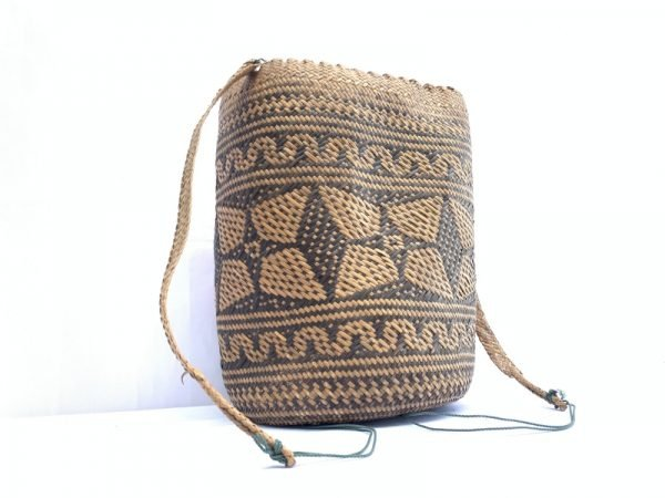 AUTHENTIC ethnic BASKET 280mm Traditional Borneo Weaving Woven Fiber Art Rattan Bag #5