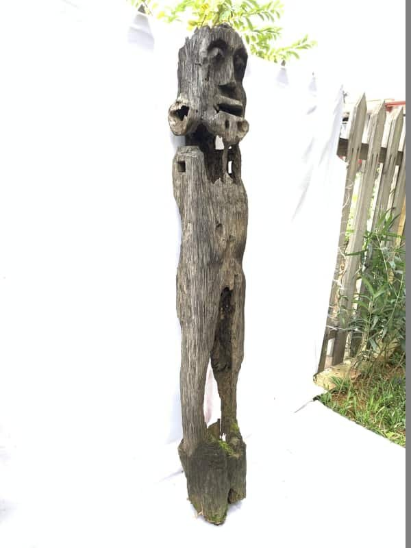 WEATHERED GUARDIAN STATUE 1.4meter Massive Eroded Dayak antique Figure Sculpture Outdoor Yard Garden Tribal Art