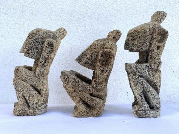 TANIMBAR INDONESIA (Set Of Three) CORAL STATUE Figure Figurine Sculpture Tribal Native Asian Art