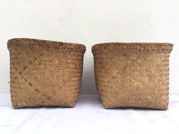 SEED BASKET One Pair BAKUL Forest Jungle Bag Travel Asia Asian Fiber Art Weaving