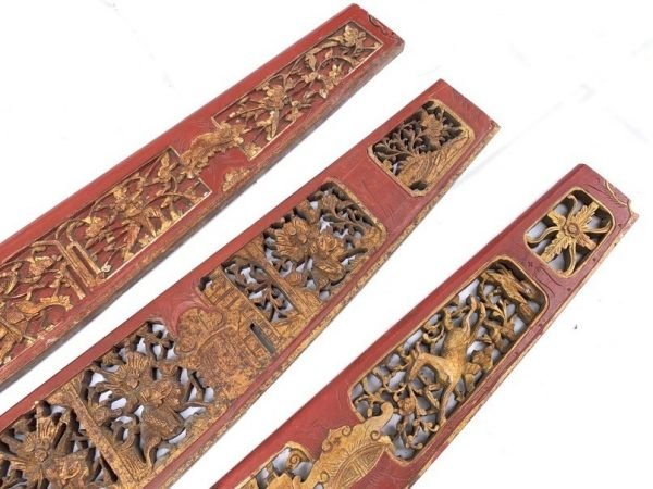 SET OF THREE (Length: 1255-1335mm) ANTIQUE CHINESE WEDDING PANEL Wood Carving Peranakan RED AND GILT