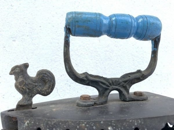 VINTAGE (Figural Rooster) CAST IRON Handle Old School Hot Coals Antique Collectible Borneo Asia