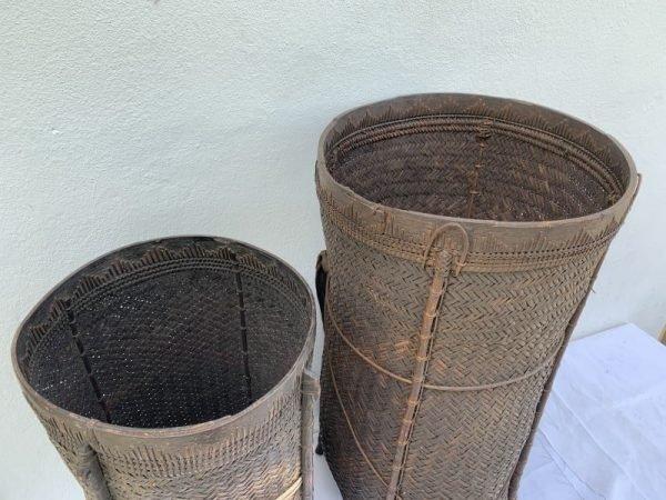 GIANTBASKET(pair)TRIBALFiberArtAsiaAsianBorneoWeavingOldArtifact