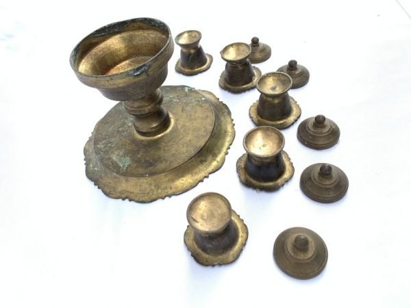 5 in 1 areca nut Container Set (Brass Authentic Vintage Old Asia Box Jewelry)