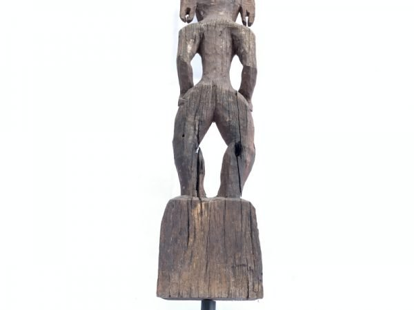 Male Guardian (840mm On Stand) Penis Fertility Statue Bahau Dayak Eroded Figurine