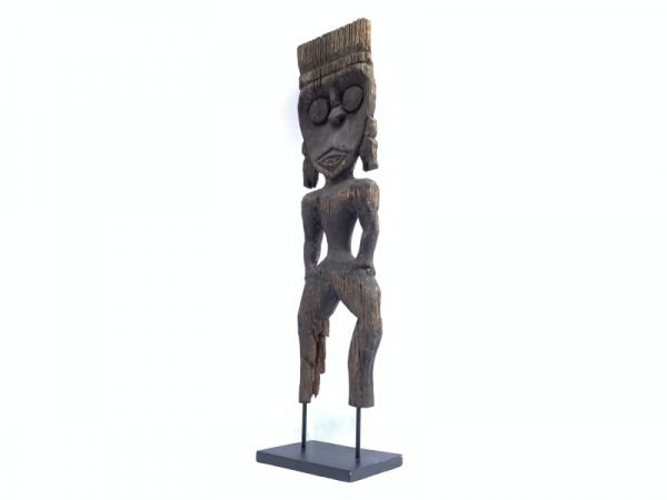 Weathered Wood Artifact (810mm On Stand) 200 years Antique Effigy Statue Cultural Figurine