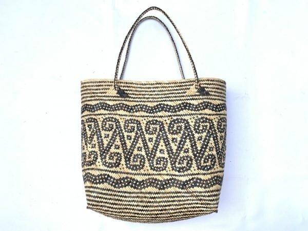 Traditional Rattan Shoulder Bag 310x290mm Rectangular Tote Handbag Ajat Weaving Handmade Tribal #6