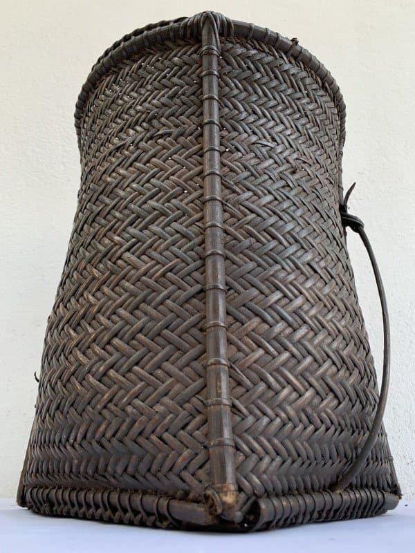 Forest Basket 320mm Antique Fiber Art Bakul Tambok Weaving Woven Art Dayak Borneo