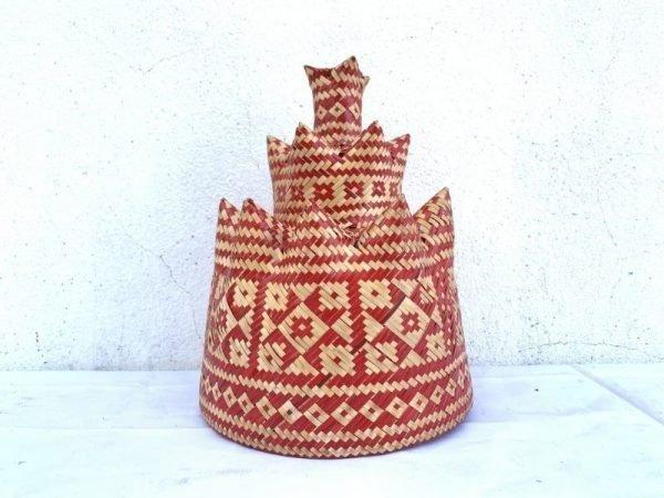 Borneo Ceremonial Dancing Hat 250mm Fiber Art Cap Costume Traditional Weaving Asia