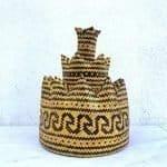 Fiber Art Class 220mm 3-Dimensional Weaving Dayak Tribes Of Borneo Asia Ceremonial Hat Costume