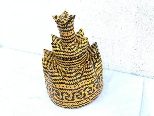 Fiber Art Class 220mm 3-Dimensional Weaving Dayak Tribes Of Borneo Asia Ceremonial Hat Costume