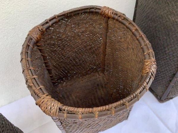 AMAZING BEAUTY Three Antique Borneo 260-420mm Basket Tribal Bakul Dayak Fiber Art