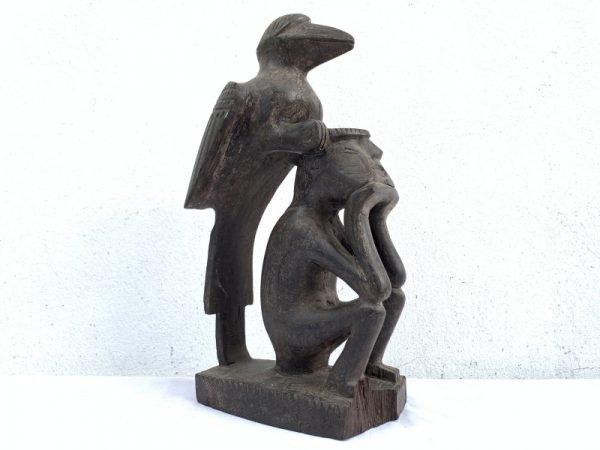 Mythical Bird & Man 350mm Antique Hardwood Statue Figure Figurine Borneo Asia