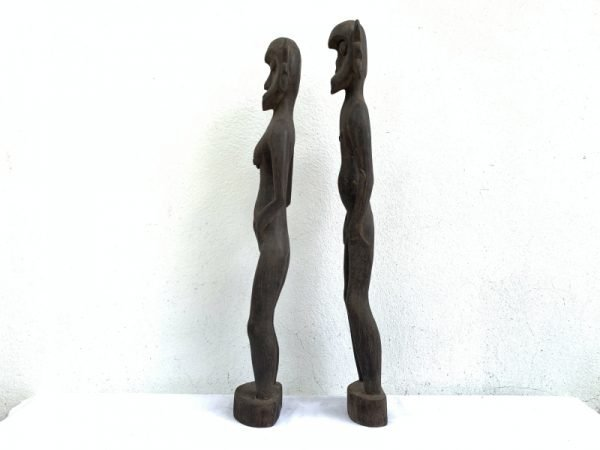 FERTILITY FIGURINE One Pair Dayak Bahau Male Female Statue Figure Figurine Naked Sculpture Asia