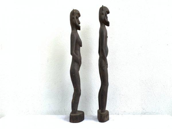 FERTILITY FIGURINE One Pair Dayak Bahau Male Female Statue Figure Figurine Naked Sculpture Asia