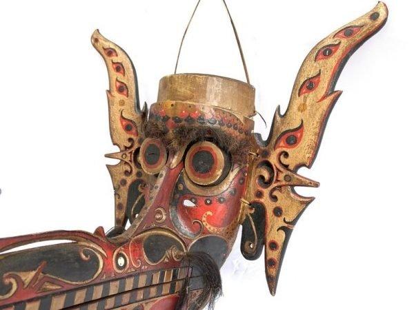 Ritual Mask 455mm Old Pig Masque Dayak Modang Hudog Dancing Face Statue Tribal Figurine Asia