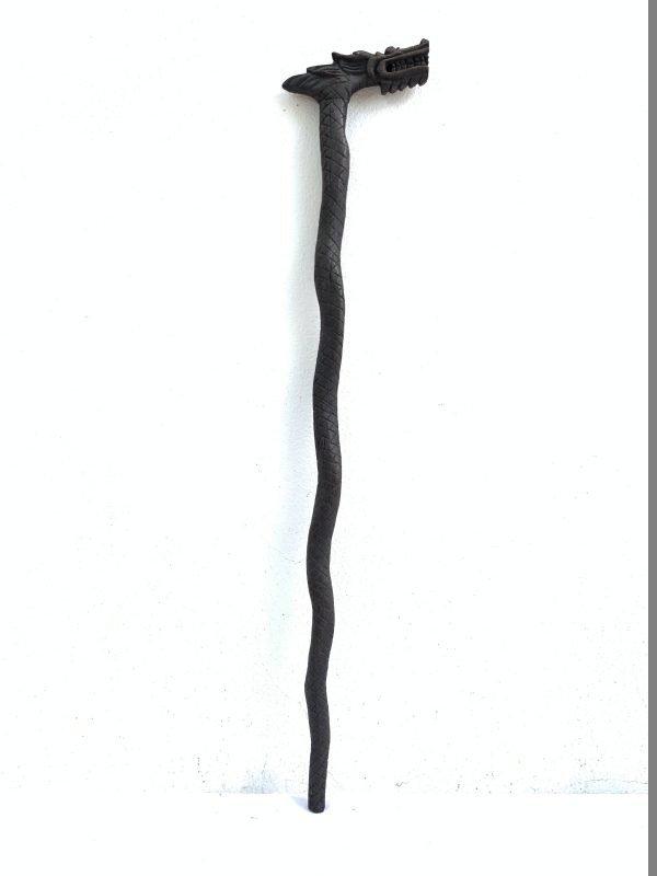 Walking Cane Hardwood Ironwood Quality Stick Hiking Rod Staff Pole Statue Tribal Borneo