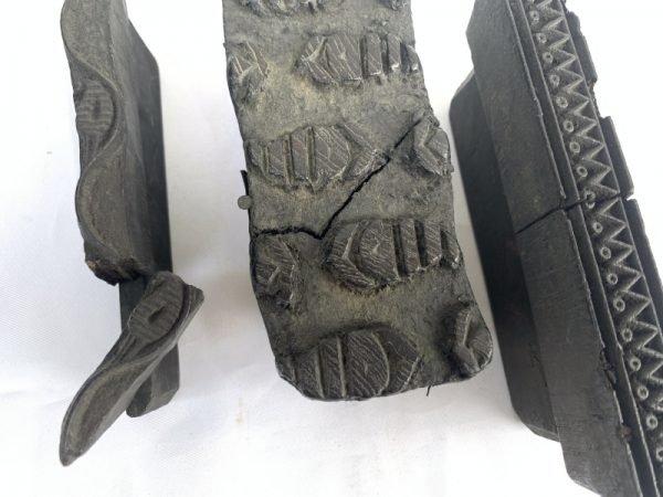 THREE NEPAL NEPALESE Handmade Fabric Block Stamp Antique Wooden Chop Textile Print #9