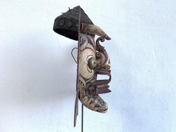 GENUINE OLD MASK 490mm Borneo Dancing Hudog Masque Tribal Wooden Artifact Sculpture Asia
