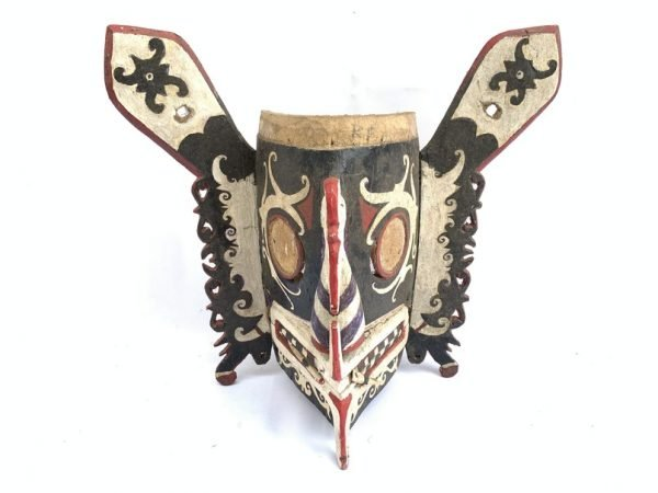 ANTIQUE 440mm BORNEO WOODEN MASK Old Dayak Modang Statue Sculpture Wall Deco Painting Tribal Art Asia