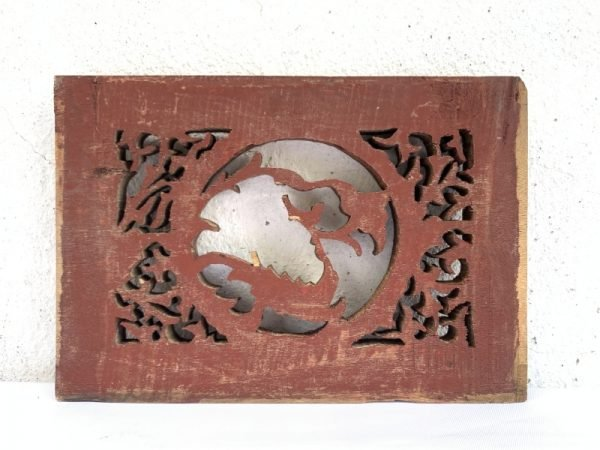 Chinese Wood Carving 220mm Antique Old Panel Wall Decor Painting Sculpture Statue