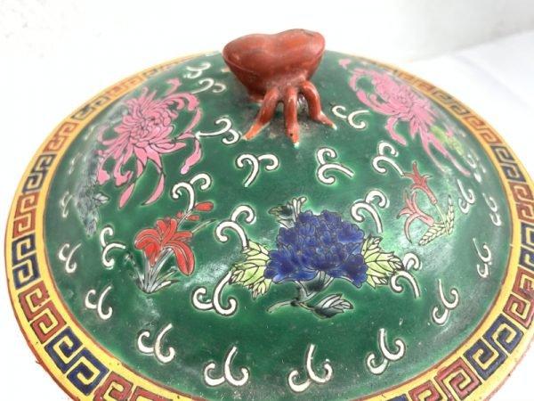 Ceramic Jar 200mm Rare Green Kamcheng Chupu Covered Jar Pot Vase Peranakan Baba Nyonya