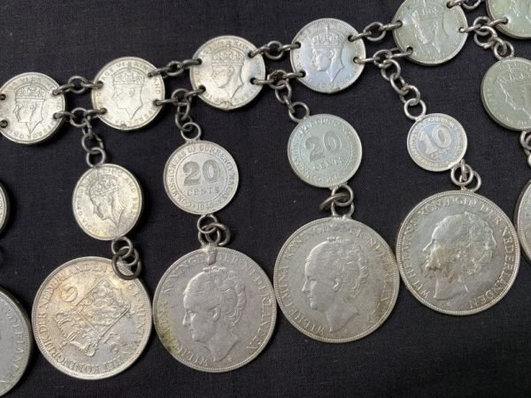 ANTIQUE SILVER 980g BELT Authentic Sterling Coin Jewel Jewelry Silverware Borneo