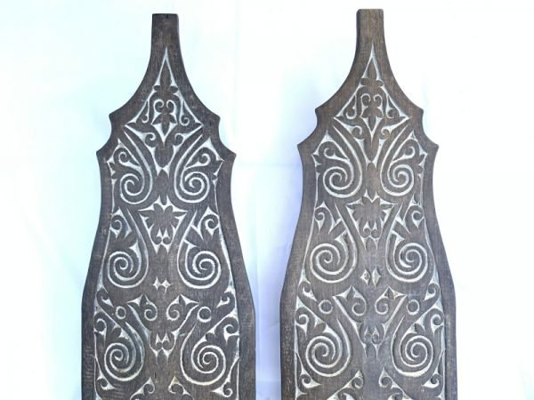 ARMOR SHIELD 1305mm (1 Pair) Dayak Tribe Tribal Panel Wood Carving Wall Deco