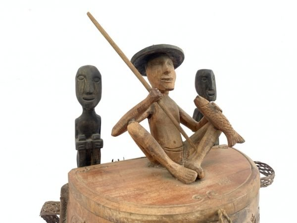 WOODEN BOX 460mm Tribal Carrier Container Traditional Backpack Statue Figure Figurine