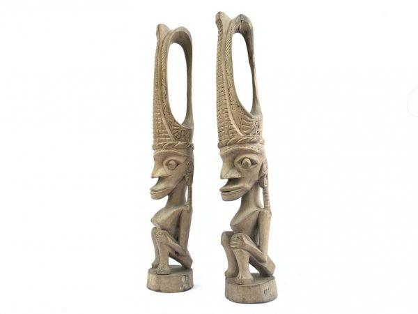COUPLE FIGURINE 460mm Male Female Nias Fertility Statue Figure Naked Sculpture