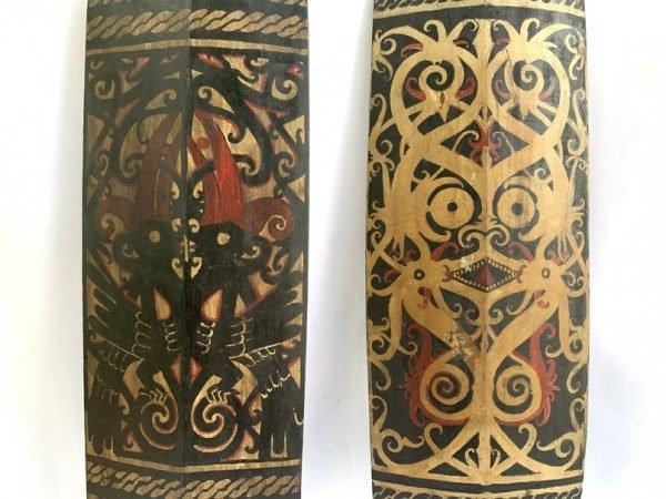 PAINTED ARMOR (1 pair) SHIELD Borneo Hand Painted Tribal Artwork Painting Animal & Myth